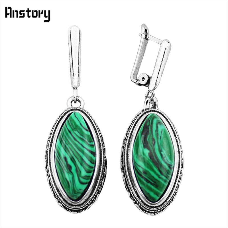 Oval Malachite Earrings Vintage Stone Earrings Antique Silver Plated Gift Party Earrings For Women