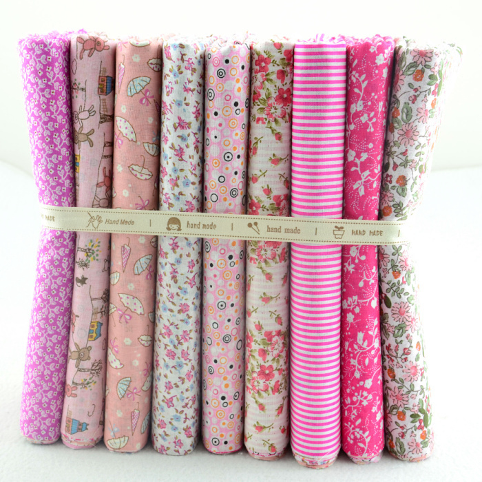 50CMx50CM 9 Designs Assorted Cute Pink Cotton Fabric Fat Quaters Tilda cloth Quilting scrapbooking Patchwork Fabric W3B5-1