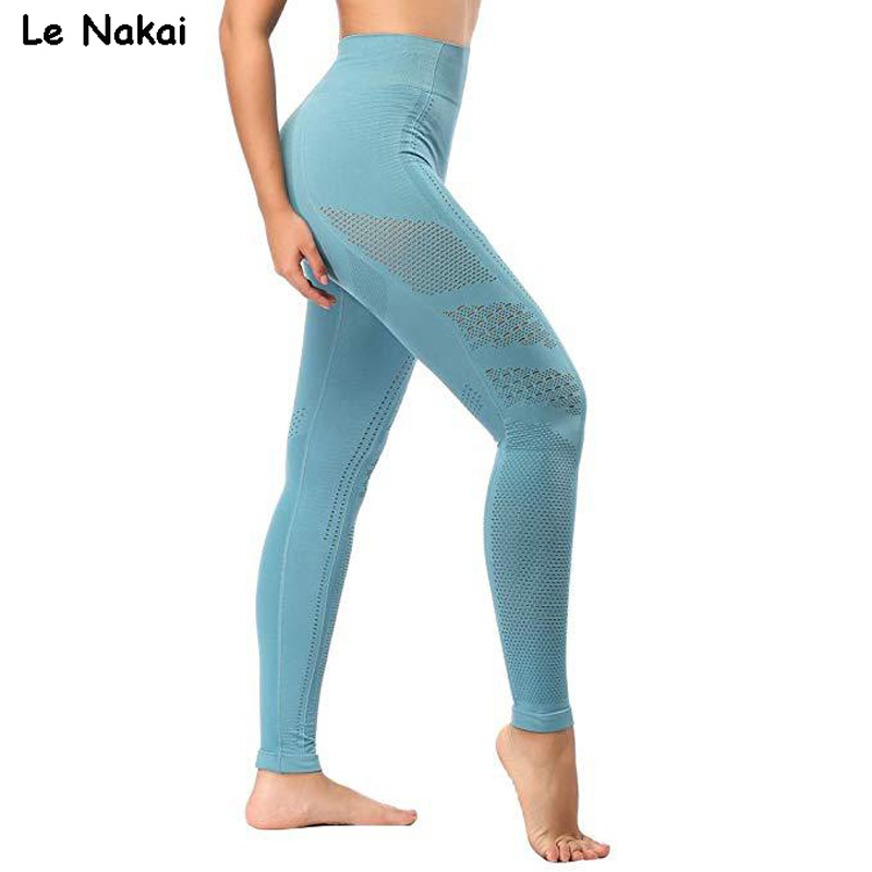 New Women Eyelet Knit Seamless Yoga Leggings High Waisted Tummy Control Gym Leggings Sports Pants Fitness Workout Flex Leggings