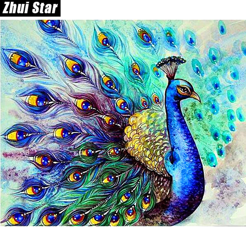 Zhui Star Full Square Diamond 5D DIY Diamond Painting peacock animals 3D Embroidery Cross Stitch Mosaic Painting Decor BK