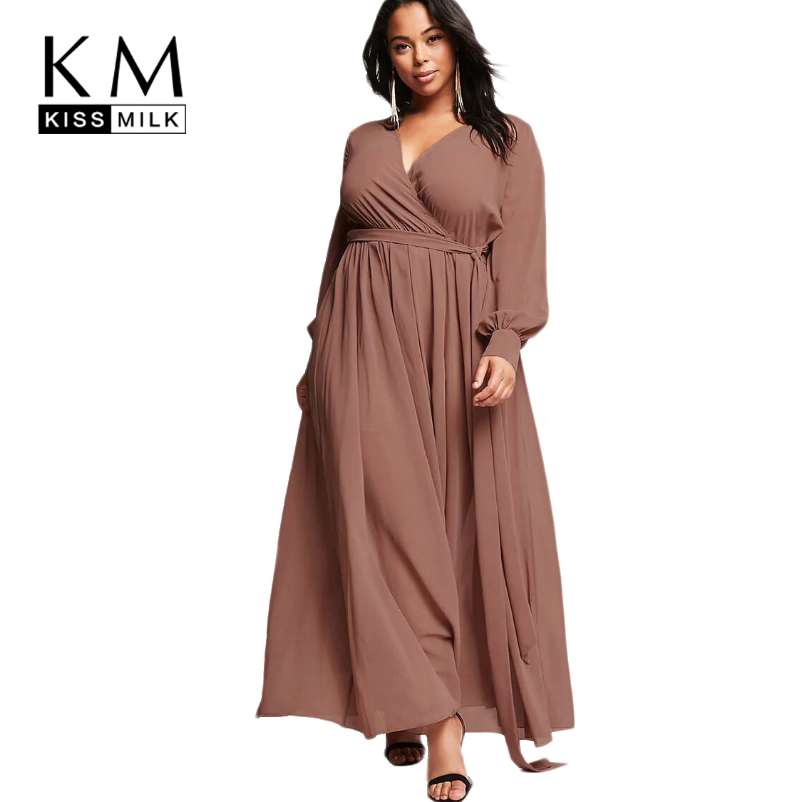 kissmilk 2017Plus Size Solid Women Long Dresses Lace Up V-neck Long Sleeve Female Clothing Elegant Big Size Sexy Lady Dress