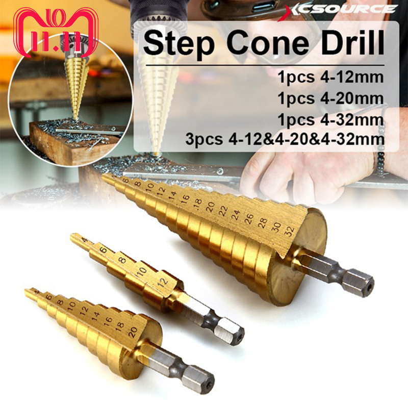 3pcs 4-12/20/32mm Large Hss Step Drill Bit Cone Drill Titanium Bit Hole Cutter Triangle Shank Steel Aluminum Step Drill Reamer