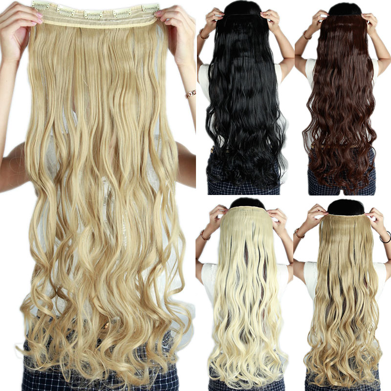 SNOILITE 29inch 5 Clip In Hair Extension Heat Resistant Fake Hairpiece Long Wavy Hairstyle synthetic hair extension clip natural