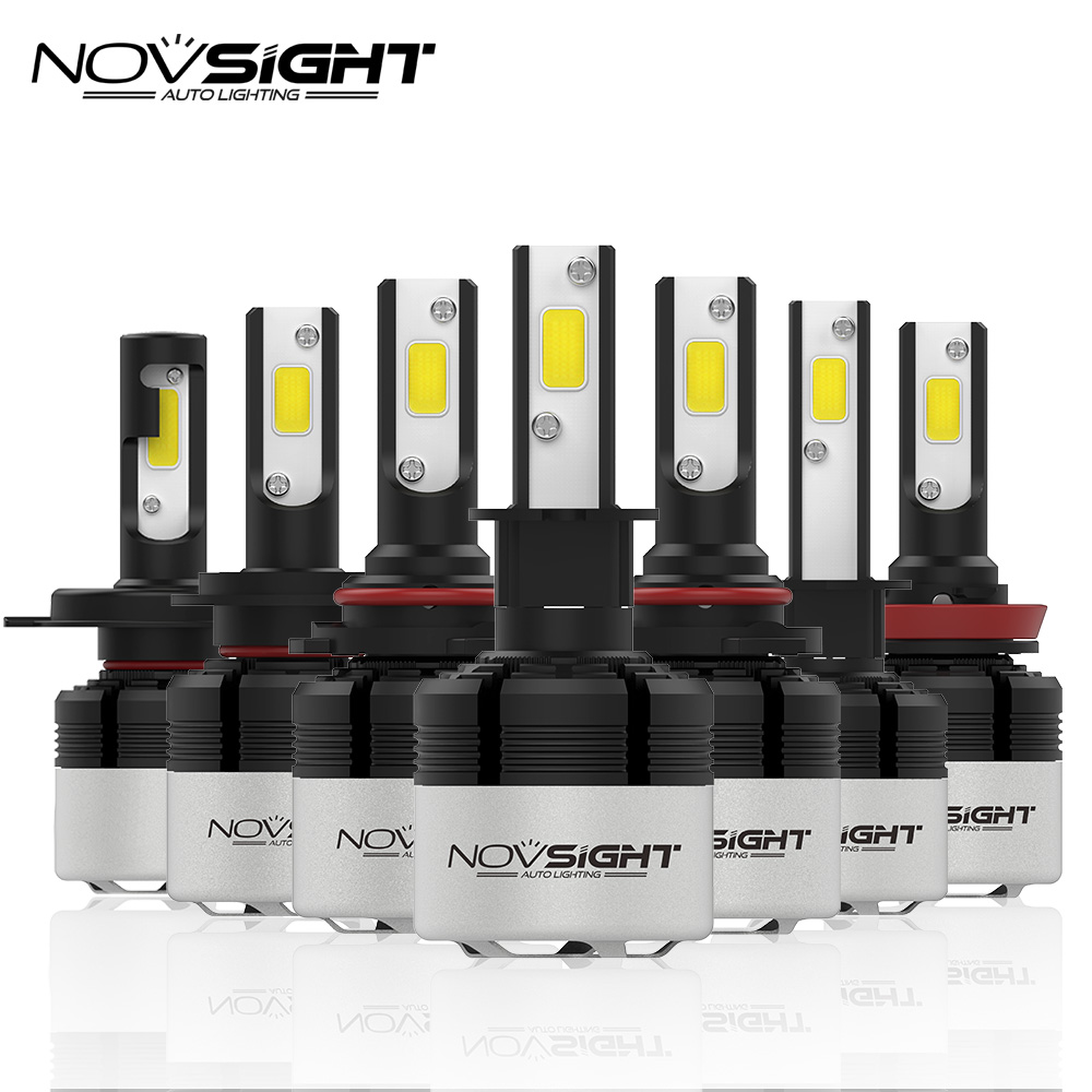 NOVSIGHT H4 H7 Led H11 H1 9005 9006 H3 H8 H9 COB LED Far 72 W 9000LM Araba LED far ampulü sis Işık 6500 K 12 V